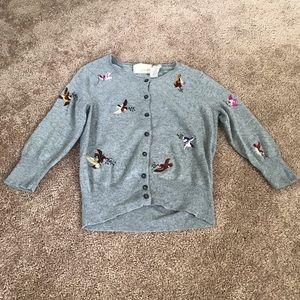 Guinevere Anthropologie bird embroidered sweater